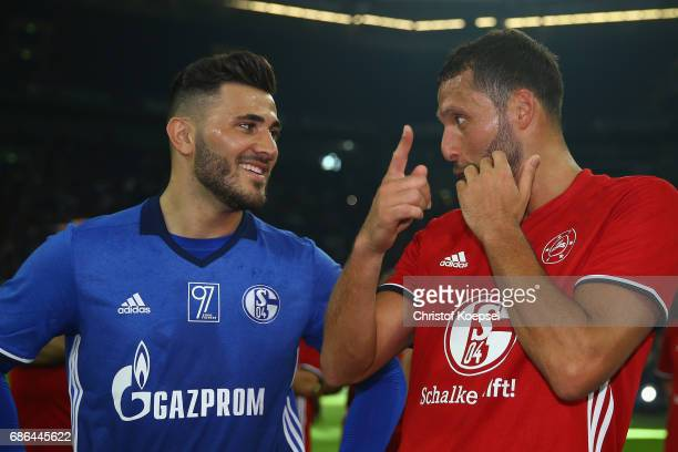 Sead Kolasinac and Kevin Kuranyi are seen after the 20 years of Eurofighter match between Eurofighter and Friends and Euro All Stars at Veltins Arena...