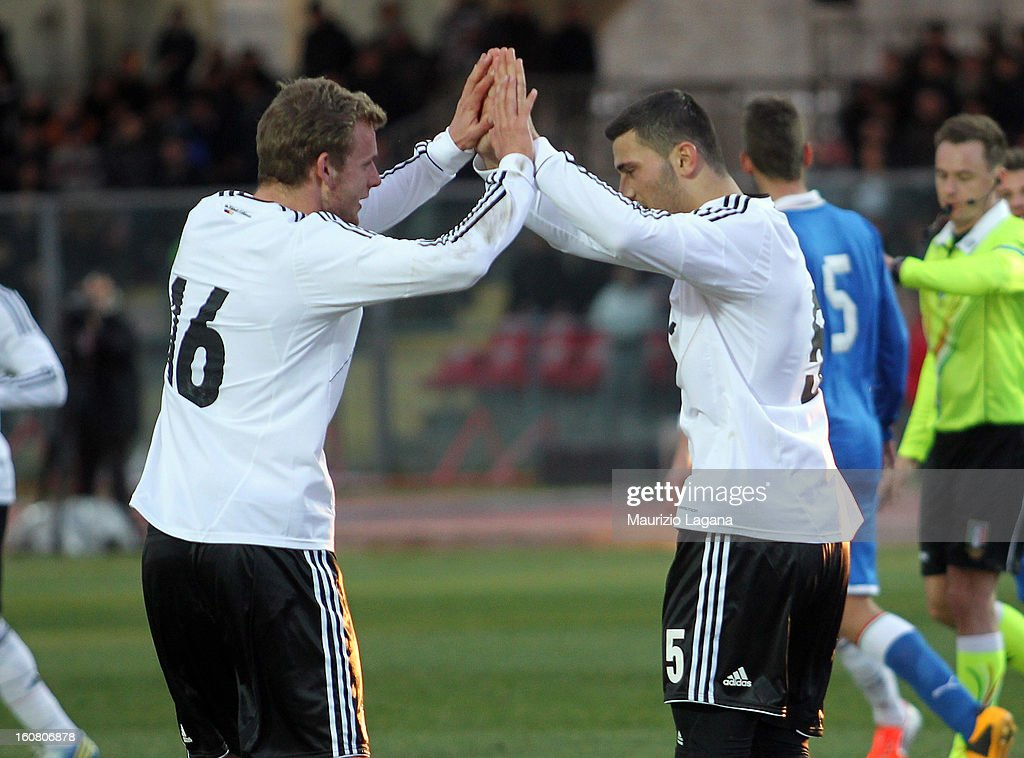 Sead Kolasinac and Lennart Thy of Germany celebrate during U20 International Friendly match between Italy and Germany at Stadio Cosimo Puttilli on February 6, 2013 in Barletta, Italy.