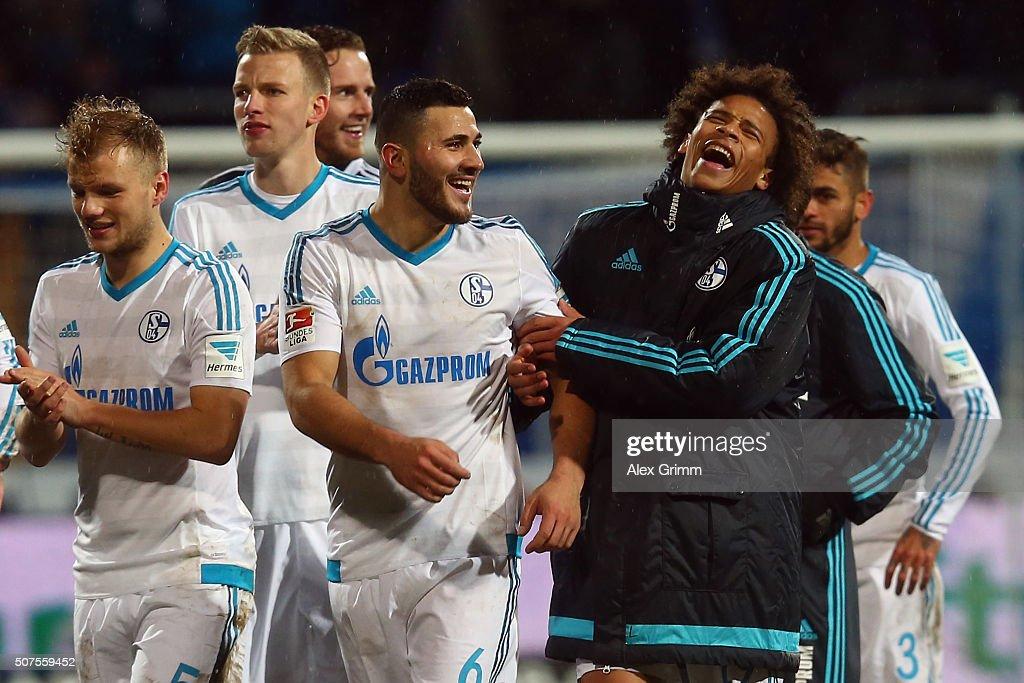 Sead Kolasinac (L) and Leroy Sane of Schalke laugh after the Bundesliga match between SV Darmstadt 98 and FC Schalke 04 at Merck-Stadion am Boellenfalltor on January 30, 2016 in Darmstadt, Germany.