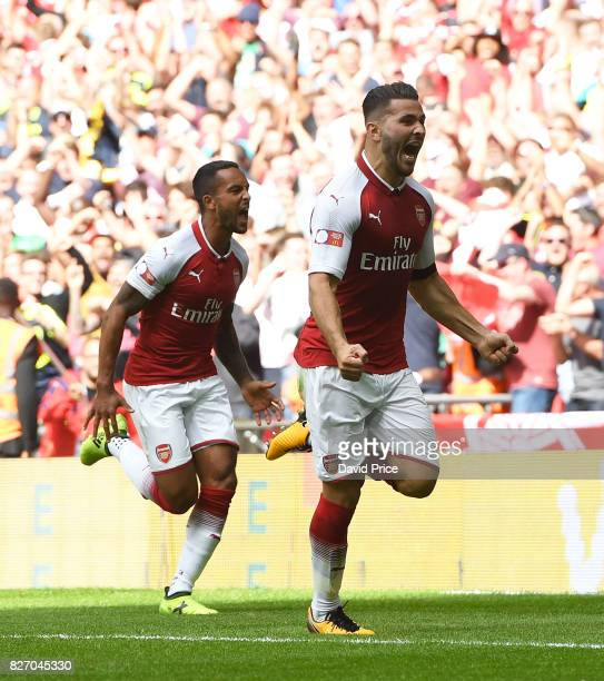 Sead Kolasinac celebrates scoring a goal for Arsenal during the match between Chelsea and Arsenal at Wembley Stadium on August 6 2017 in London...