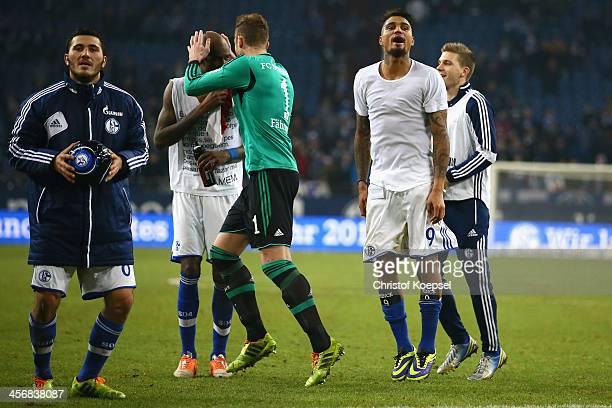 Sead Kolasinac Felipe Santana Ralf Faehrmann and Kevin Prince Boateng of Schalke celebrate after the Bundesliga match between FC Schalke 04 and SC...