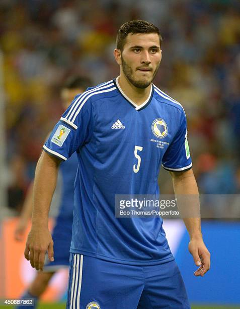 Sead Kolasinac in action for BosniaHerzegovina during the 2014 FIFA World Cup Brazil Group F match between Argentina and BosniaHerzegovina at...