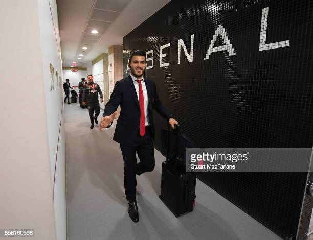 Sead Kolasinac in the Arsenal changing room before the Premier League match between Arsenal and Brighton and Hove Albion at Emirates Stadium on...