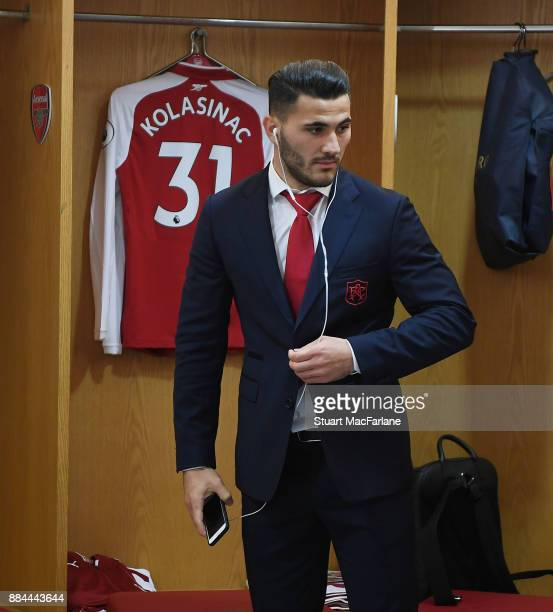 Sead Kolasinac in the Arsenal changing room before the Premier League match between Arsenal and Manchester United at Emirates Stadium on December 2...