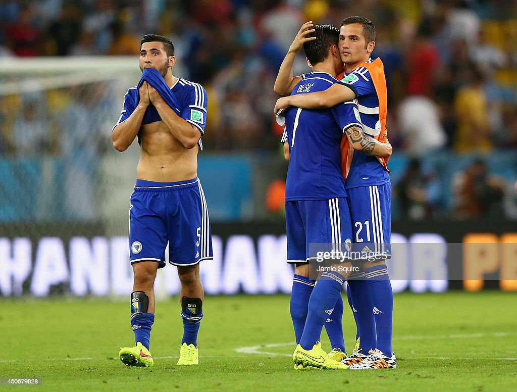 Sead Kolasinac, Muhamed Besic and Anel Hadzic of Bosnia and Herzegovina react after losing to Argentina 2-1 during the 2014 FIFA World Cup Brazil Group F match between Argentina and Bosnia-Herzegovina at Maracana on June 15, 2014 in Rio de Janeiro, Brazil.