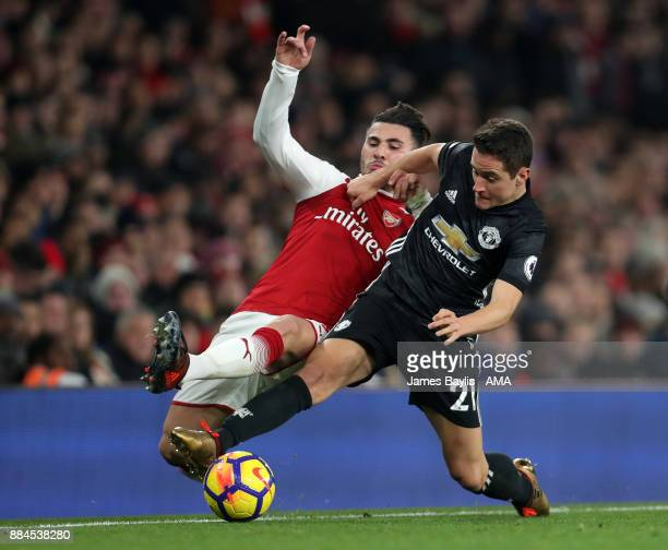 Sead Kolasinac of Arsenal and Ander Herrera of Manchester United during the Premier League match between Arsenal and Manchester United at Emirates...