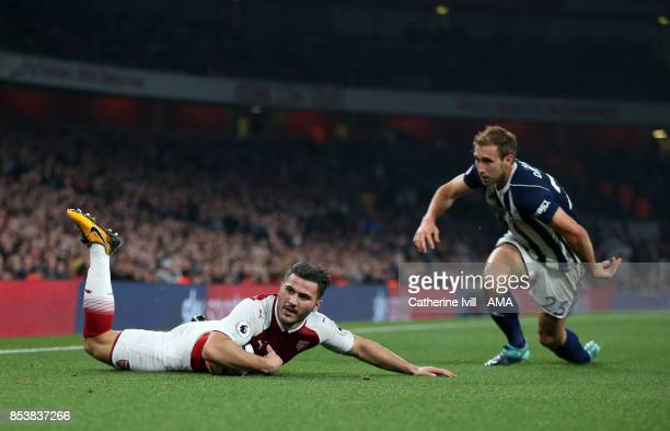 Sead Kolasinac of Arsenal and Craig Dawson of West Bromwich Albion during the Premier League match between Arsenal and West Bromwich Albion at...