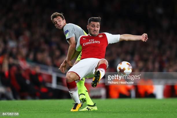 Sead Kolasinac of Arsenal and Frederik Sorensen of FC Koeln during the UEFA Europa League group H match between Arsenal FC and 1 FC Koeln at Emirates...