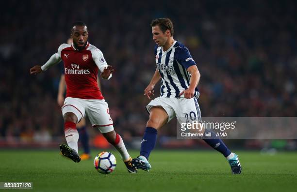 Sead Kolasinac of Arsenal and Grzegorz Krychowiak of West Bromwich Albion during the Premier League match between Arsenal and West Bromwich Albion at...