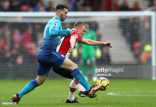 Sead Kolasinac of Arsenal and James WardProwse of Southampton battle for the ball during the Premier League match between Southampton and Arsenal at...