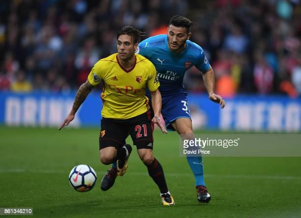 Sead Kolasinac of Arsenal closes down Kiko Femenia of Watford during the Premier League match between Watford and Arsenal at Vicarage Road on October...