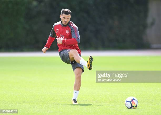 Sead Kolasinac of Arsenal during a training session at London Colney on August 18 2017 in St Albans England