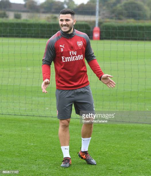Sead Kolasinac of Arsenal during a training session at London Colney on October 13 2017 in St Albans England