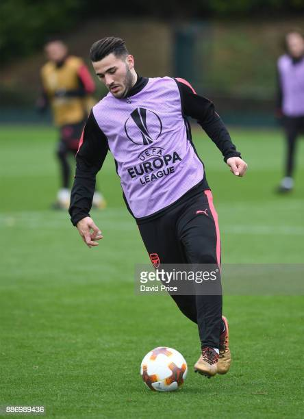 Sead Kolasinac of Arsenal during the Arsenal training session on the eve of the UEFA Europa League group H match against BATE Borisov at London...