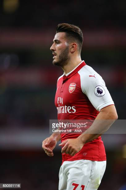 Sead Kolasinac of Arsenal during the Premier League match between Arsenal and Leicester City at Emirates Stadium on August 11 2017 in London England