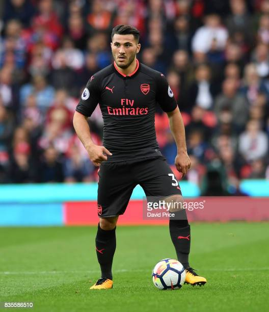 Sead Kolasinac of Arsenal during the Premier League match between Stoke City and Arsenal at Bet365 Stadium on August 19 2017 in Stoke on Trent England
