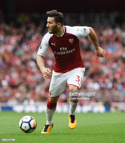 Sead Kolasinac of Arsenal during the Premier League match between Arsenal and Brighton and Hove Albion at Emirates Stadium on September 30 2017 in...