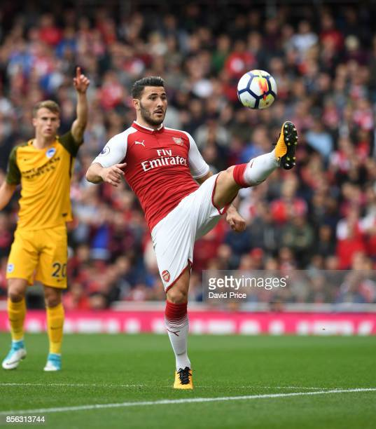 Sead Kolasinac of Arsenal during the Premier League match between Arsenal and Brighton and Hove Albion at Emirates Stadium on October 1 2017 in...