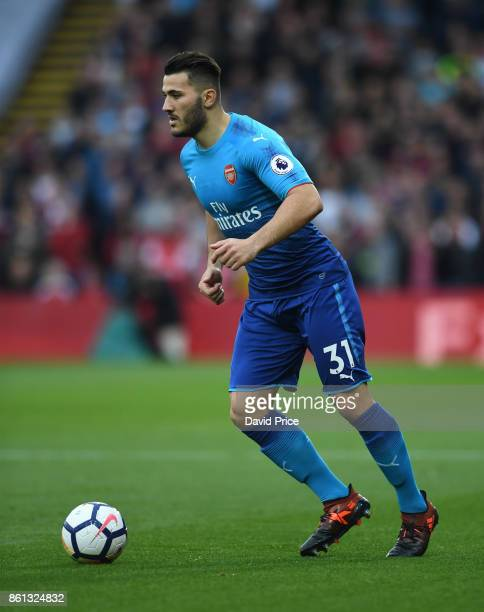 Sead Kolasinac of Arsenal during the Premier League match between Watford and Arsenal at Vicarage Road on October 14 2017 in Watford England
