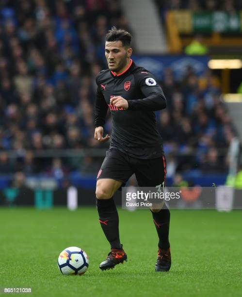 Sead Kolasinac of Arsenal during the Premier League match between Everton and Arsenal at Goodison Park on October 22 2017 in Liverpool England