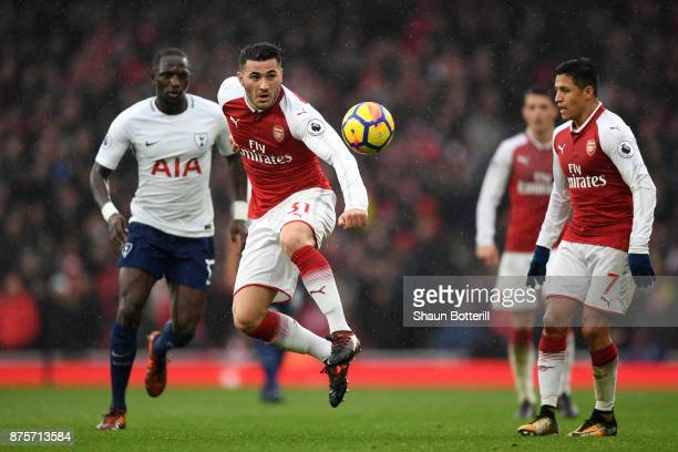 Sead Kolasinac of Arsenal in action during the Premier League match between Arsenal and Tottenham Hotspur at Emirates Stadium on November 18 2017 in...