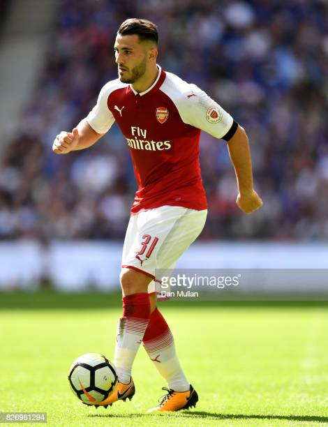 Sead Kolasinac of Arsenal in action during the The FA Community Shield final between Chelsea and Arsenal at Wembley Stadium on August 6 2017 in...