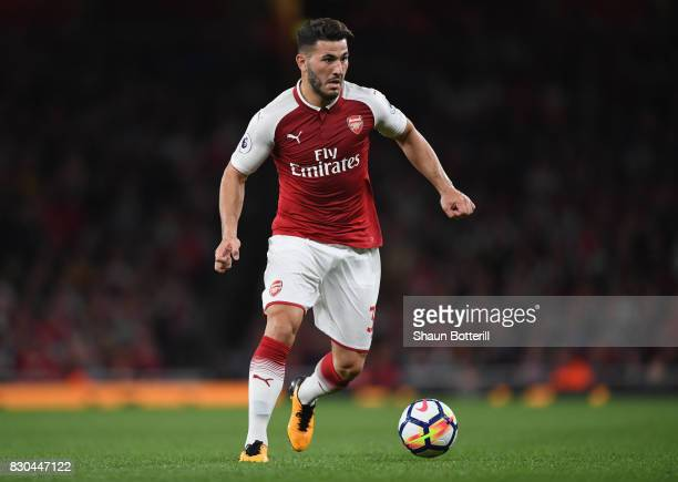 Sead Kolasinac of Arsenal runs with the ball during the Premier League match between Arsenal and Leicester City at Emirates Stadium on August 11 2017...