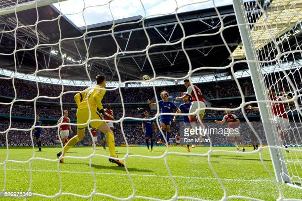 Sead Kolasinac of Arsenal scores his sides first goal during the The FA Community Shield final between Chelsea and Arsenal at Wembley Stadium on...