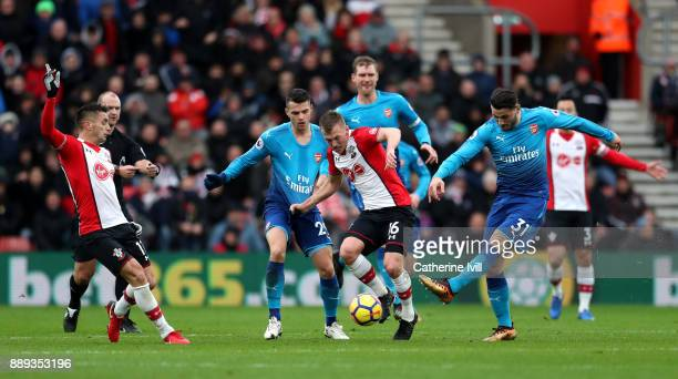 Sead Kolasinac of Arsenal tackles James WardProwse of Southampton during the Premier League match between Southampton and Arsenal at St Mary's...