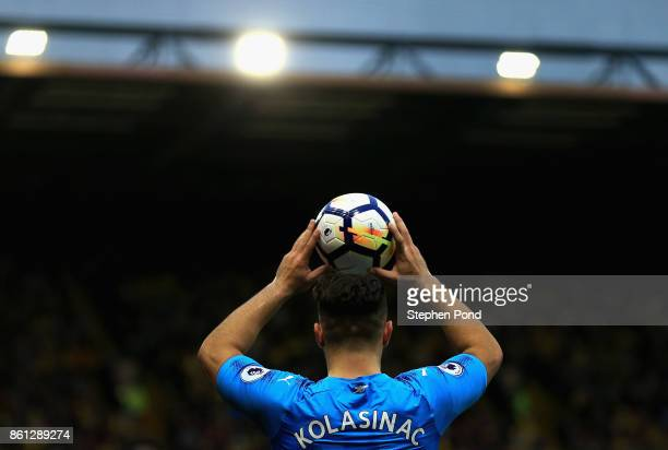 Sead Kolasinac of Arsenal takes a throw in during the Premier League match between Watford and Arsenal at Vicarage Road on October 14 2017 in Watford...