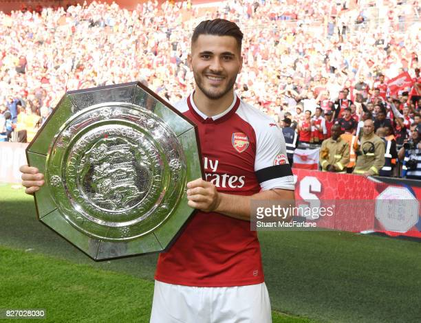 Sead Kolasinac of Arsenal with the Community shield after the FA Community Shield match between Chelsea and Arsenal at Wembley Stadium on August 6...