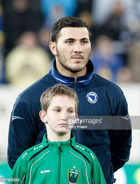 Sead Kolasinac of Bosnia and Hercegovina lines up before the International Friendly match between Bosnia and Herzegovina and Egypt at the Tivoli...