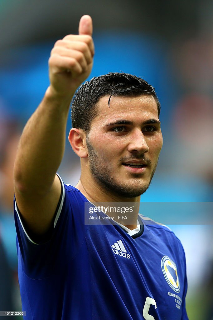 Sead Kolasinac of Bosnia and Herzegovina celebrates the 3-1 win after the 2014 FIFA World Cup Brazil Group F match between Bosnia-Herzegovina and Iran at Arena Fonte Nova on June 25, 2014 in Salvador, Brazil.