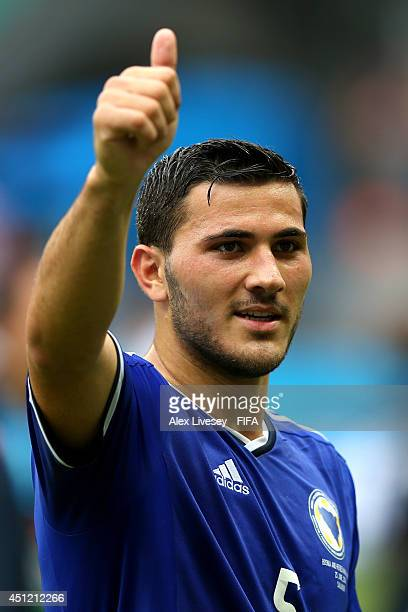 Sead Kolasinac of Bosnia and Herzegovina celebrates the 31 win after the 2014 FIFA World Cup Brazil Group F match between BosniaHerzegovina and Iran...
