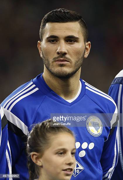 Sead Kolasinac of Bosnia and Herzegovina looks on during anthems prior to the UEFA EURO 2016 qualifier playoff second leg match between Republic of...