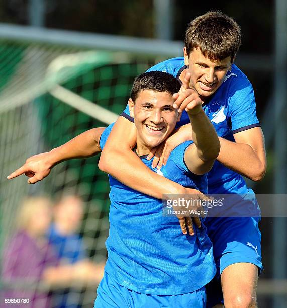 Sead Kolasinac of Hoffenheim celebrates after scoring the 20 with his team mate Dejan Bozic during the B juniors match between TSG 1899 Hoffenheim...