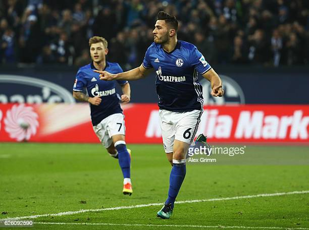 Sead Kolasinac of Schalke 04 celebrates scoring a goal during the Bundesliga match between FC Schalke 04 and SV Darmstadt 98 at VeltinsArena on...