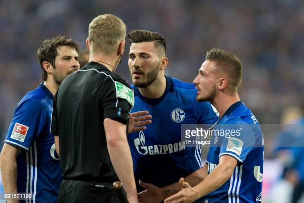 Sead Kolasinac of Schalke and Donis Avdijaj of Schalke during to the Bundesliga match between FC Schalke 04 and Hamburger SV at VeltinsArena on May...