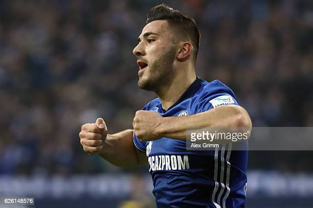 Sead Kolasinac of Schalke celebrates his team's first goal during the Bundesliga match between FC Schalke 04 and SV Darmstadt 98 at VeltinsArena on...