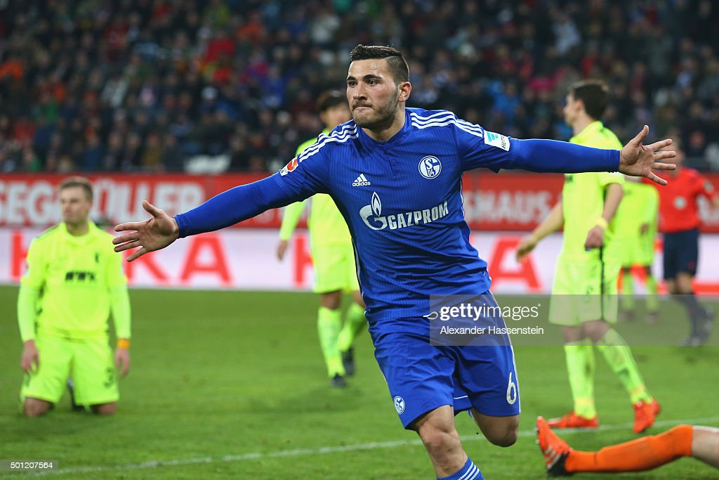 Sead Kolasinac of Schalke celebrates scoring the first team goal during the Bundesliga match between FC Augsburg and FC Schalke 04 at WWK Arena on December 13, 2015 in Augsburg, Germany.