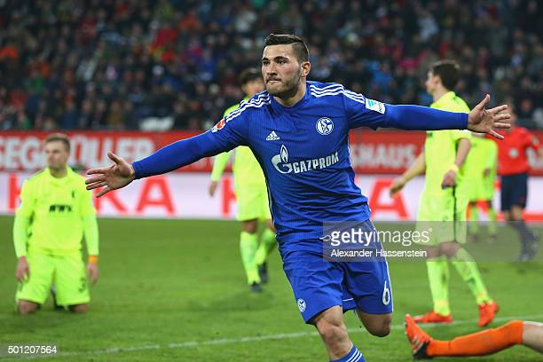 Sead Kolasinac of Schalke celebrates scoring the first team goal during the Bundesliga match between FC Augsburg and FC Schalke 04 at WWK Arena on...
