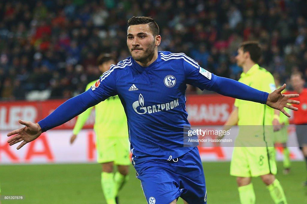 Sead Kolasinac of Schalke celebrates scoring the first team goal during the Bundesliga match between FC Augsburg and FC Schalke 04 at WWK Arena on December 13, 2015 in Augsburg, Germany.