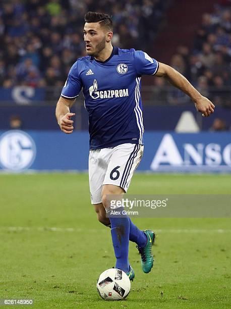Sead Kolasinac of Schalke controles the ball during the Bundesliga match between FC Schalke 04 and SV Darmstadt 98 at VeltinsArena on November 27...