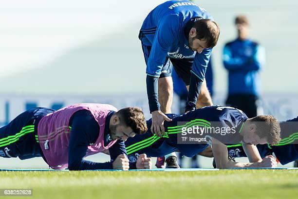 Sead Kolasinac of Schalke Fabian Reese of Schalke and Thomas Barth of Schalke during the Training Camp of FC Schalke 04 at Hotel Melia Villaitana on...