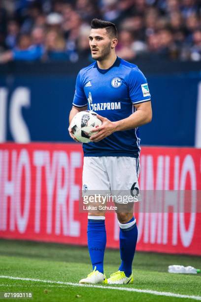 Sead Kolasinac of Schalke holds the ball during the Bundesliga match between FC Schalke 04 and RB Leipzig at VeltinsArena on April 23 2017 in...