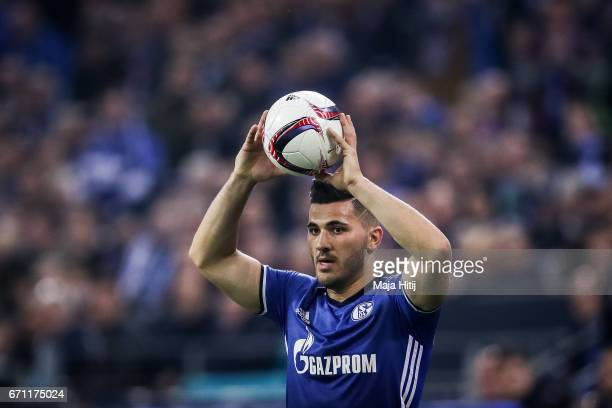 Sead Kolasinac of Schalke holds the ball during the UEFA Europa League quarter final second leg match between FC Schalke 04 and Ajax Amsterdam at...