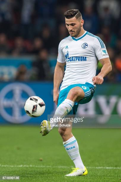 Sead Kolasinac of Schalke in action during the Bundesliga match between Bayer 04 Leverkusen and FC Schalke 04 at BayArena on April 28 2017 in...
