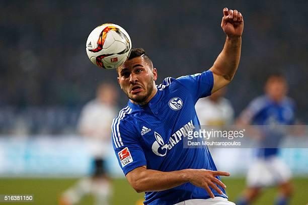 Sead Kolasinac of Schalke in action during the Bundesliga match between FC Schalke 04 and Borussia Moenchengladbach held at VeltinsArena on March 18...