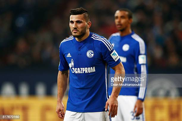 Sead Kolasinac of Schalke looks on during the Bundesliga match between FC Schalke 04 and Borussia Moenchengladbach held at VeltinsArena on March 18...