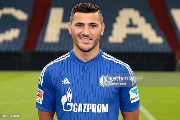 Sead Kolasinac poses during the team presentation of FC Schalke 04 at VeltinsArena on July 17 2015 in Gelsenkirchen Germany